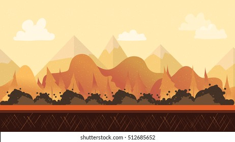 Seamless cartoon nature landscape for games mobile applications and computers. Vector illustration for your design 1920x1080