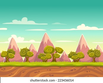Seamless cartoon nature landscape, unending background with soil, trees, mountains and cloudy sky layers
