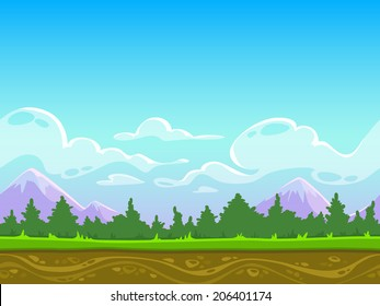 Seamless cartoon nature landscape, vector unending background with grass, forest, mountains and sky layers