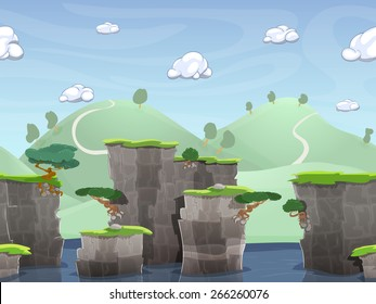 Seamless cartoon nature landscape, vector unending background with ground, hills, river and sky layers.