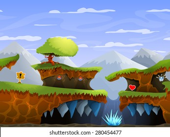 Seamless cartoon nature landscape, vector unending background with ground, , mountains and sky layers.