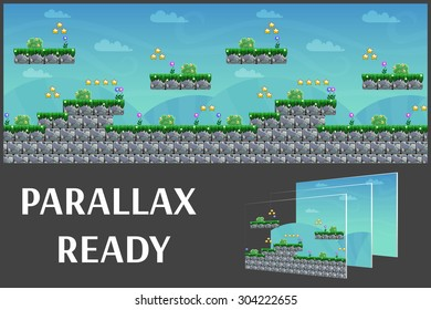 Seamless cartoon nature landscape, vector unending background with separated layers for game.