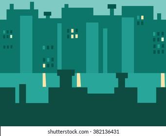 Seamless Cartoon Night City Landscape, Flat Vector Illustration