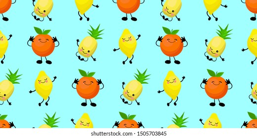 Seamless cartoon pattern with fruits on a bright blue background. Cartoon Kawaii Fruit Characters