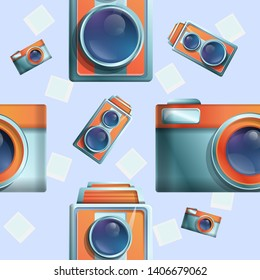 seamless cartoon phot on the theme of vintage cameras, vector illustration