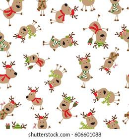 seamless cartoon reindeer
