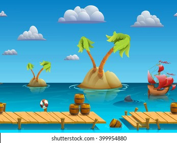 Seamless cartoon sea landscape, vector unending background with separated layers for game.