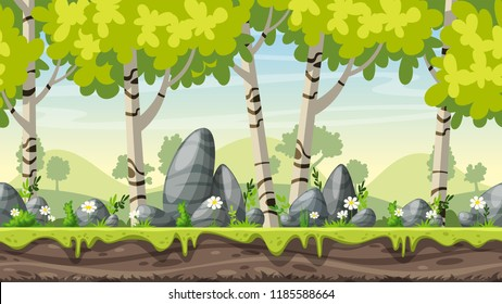 Seamless cartoon spring landscpae. Vector illustration with separate layers.