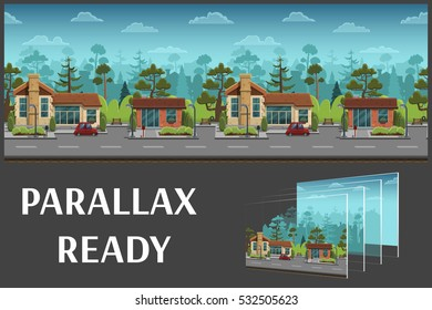 Seamless cartoon street in town, summer landscape, vector unending background with separated layers for game.