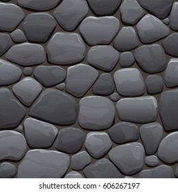 Seamless cartoon texture of an old cobblestone roadway made of gray stone