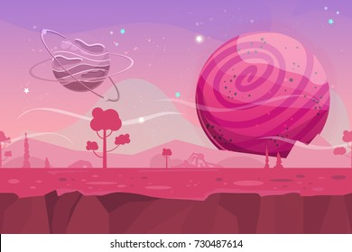 Seamless cartoon vector landscape. Vector endless background with ground, planet, trees, stars. Fantasy sci-fi background for UI Game. Illustration of a cartoon sci-fi alien planet landscape.