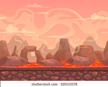 Seamless cartoon volcano desert landscape, separated layers for game design