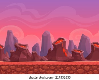 Seamless cartoon volcano landscape, vector endless background with ground, volcanoes, rocks, clouds and sky layers
