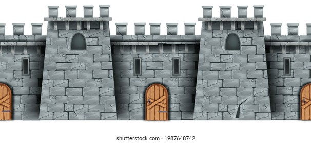 Seamless castle wall background, medieval vector stone fortress facade, wooden door, windows. Game brick fortification texture, old tower, historical citadel wallpaper. Castle wall, closed entrance