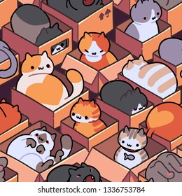 Seamless cat pattern. Cartoon animals background. Ideal for fabric, wallpaper, wrapping paper, textile, t-shirt print.