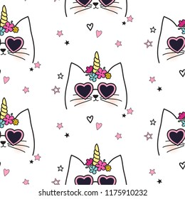 Seamless cat pattern. Hand drown caticorn cartoon character.  Cute kitty illustration for nursery design, birthday, baby shower design and party decor, print