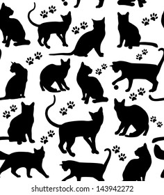 Seamless cats background.