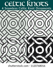 Seamless Celtic Knot Ornaments. 4 different versions of a seamless pattern with Celtic knots: with white filling, without filling, with shadows and with a black background.