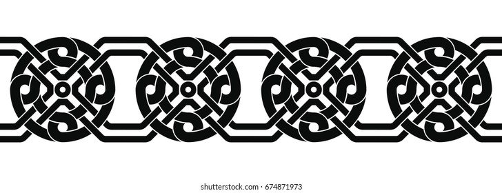 Seamless Celtic national ornament interlaced tape. Black ornament isolated on white background.