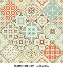 Seamless ceramic tile with colorful patchwork. Vintage multicolor pattern in Spanish style. Endless pattern can be used for ceramic tile, wallpaper, linoleum, textile, web page background