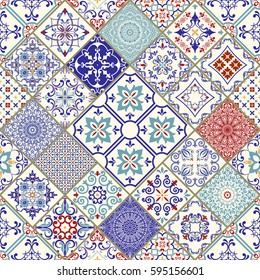 Seamless ceramic tile with colorful patchwork. Vintage multicolor pattern in turkish style. Endless pattern can be used for ceramic tile, wallpaper, linoleum, textile, web page background. Vector.