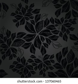 Seamless charcoal leaves wallpaper pattern. This image is a vector illustration.