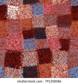 Seamless checkered pattern with grunge striped latticed colorful square elements on brown backdrop