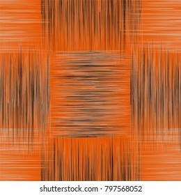 Seamless checkered pattern with grunge striped square elements in black,white colors on orange backdrop