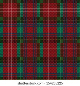 Seamless checkered shades of red and green vector pattern as a tartan plaid