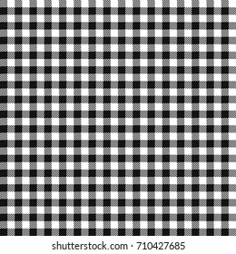 Seamless checkered vector pattern. Coarse black and white plaid fabric texture. Abstract geometric background. Vintage tablecloth for picnic Texture. Vector illustration EPS 10.