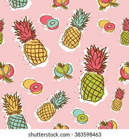 seamless cheerful pine apples pattern