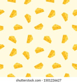 Seamless cheese icon. Cheese vector pattern background