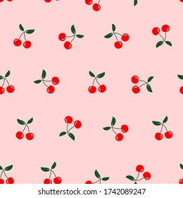 Seamless of cherry fruit with green leaves on pink background vector illustration. Cute cartoon fruit pattern, flat design for fashion print.