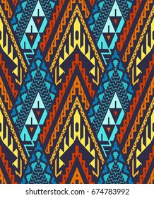Seamless Chevron Pattern: Colorful Triangles on Dark. Vector Background for Textile Design. Ethnic Abstract Texture