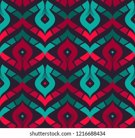 Seamless Chevron Pattern with Curved Stripes. Vector Background for Textile Design. Geometric Abstract Texture