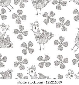 Seamless chicken and flower design background,vector