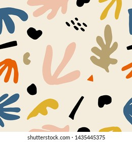 Seamless childish aesthetic pattern with hand drawn abstract leaves and shapes. Creative scandinavian kids fabric, wrapping texture, textile, wallpaper, home apparel. Vector EPS illustration.