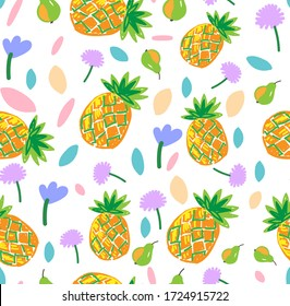 Seamless childish bright fruit pattern with pineapples, leaves and flowers. Vector illustration for wallpaper, fabric, cards.
