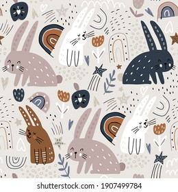 Seamless childish modern pattern with cute hand drawn rabbits. Creative kids hand drawn texture for fabric, wrapping, textile, wallpaper, apparel. Vector illustration