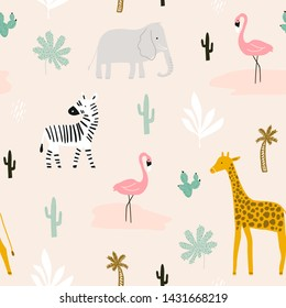 Seamless childish pattern with african animals. Creative scandinavian kids texture for fabric, wrapping, textile, wallpaper, apparel. Vector illustration
