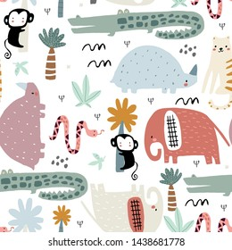 Seamless childish pattern with african animals. Creative scandinavian style kids texture for fabric, wrapping, textile, wallpaper, apparel. Vector illustration
