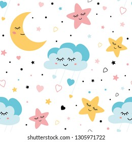 Seamless childish pattern Сute baby stars and clouds moon Creative night style kids pink blue texture for fabric wrapping textile wallpaper apparel background Children pyjamas Vector illustration.
