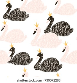 Seamless childish pattern with black and white swan princess. Creative nursery background. Perfect for kids design, fabric, wrapping, wallpaper, textile, apparel