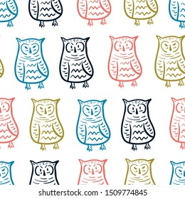Seamless childish pattern with colorful owls. Creative animal texture for fabric, wrapping, textile, wallpaper, apparel. Vector illustration