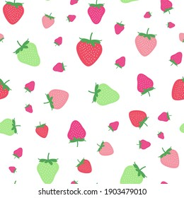 Seamless childish pattern with colorful strawberry vector background. Creative fruits texture for fabric, wrapping, textile, wallpaper, apparel. Surface pattern design.