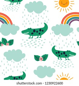 Seamless childish pattern with crocodile, rainbow, rain clouds and the sun. Creative modern texture for kids apparel, fabric, textile, nursery, wrapping. Vector Illustration.