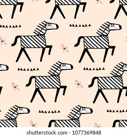 Seamless childish pattern with cute african zebra. Kids texture for fabric, wrapping, textile, wallpaper, apparel. Black and white background.
