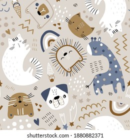Seamless childish pattern with cute animals. Creative kids hand drawn texture for fabric, wrapping, textile, wallpaper, apparel. Vector illustration
