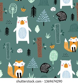 Seamless childish pattern with cute bear, fox, hedgehogs in the wood. Creative kids scandinavian style texture for fabric, wrapping, textile, wallpaper, apparel. Vector illustration