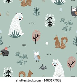 Seamless childish pattern with cute bear, squirrels, owl, hedgehog in the wood. Creative kids forest texture for fabric, wrapping, textile, wallpaper, apparel. Vector illustration